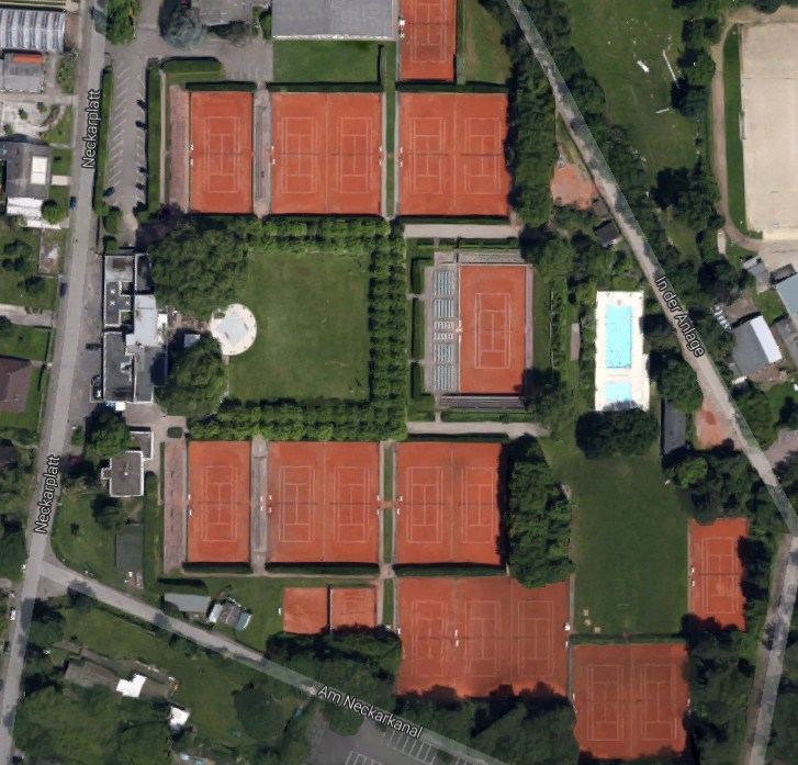 tennisklub gr n weiss mannheim e v tennis courts map directory. Black Bedroom Furniture Sets. Home Design Ideas