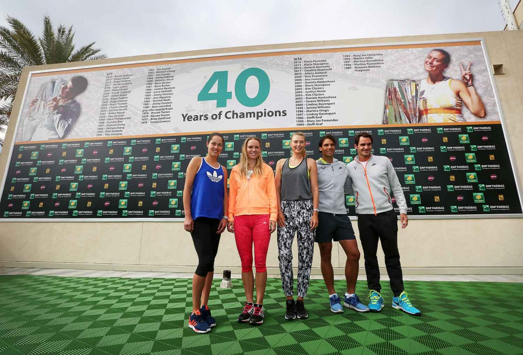 Ivanovic Wozniacki Sharapova Nadal And Federer Pose At The Indian Wells Tennis Garden
